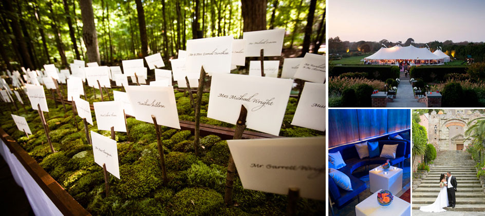 Wedding in the forest. East Hampton, NY. Tented elegance. After Party fun. Wedding for two in Sicily, Italy.