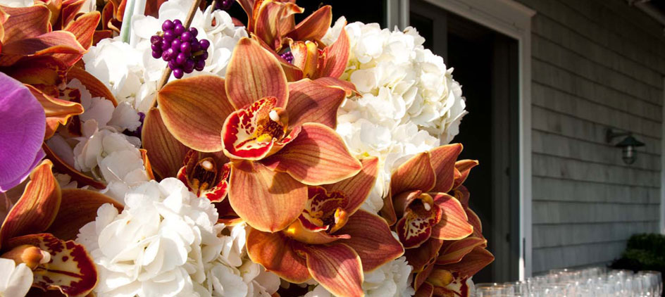 Orchids and hydrangeas for a summer wedding.